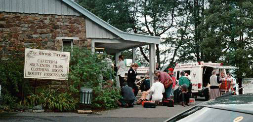 Emergency personnel treat shooting victims outside the Broad Arrow Cafe near the historical Port Arthur site on Tasmania Sunday April 28, 1996. A gunman with a high-powered rifle opened fire at the popular tourist site Sunday, killing at least 33 people in what police have called Australia s worst massacre in modern history. &#40;AP Photo&#47;ho&#41; <span class=meta>(AP Photo&#47; Anonymous)</span>