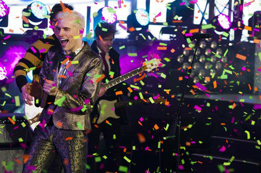 Tyler Green from the band Neon Trees performs in Times Square during New Year&#39;s Eve celebrations on Monday, Dec. 31, 2012 in New York. &#40;Photo by Charles Sykes&#47;Invision&#47;AP&#41; <span class=meta>(AP Photo&#47; Charles Sykes)</span>