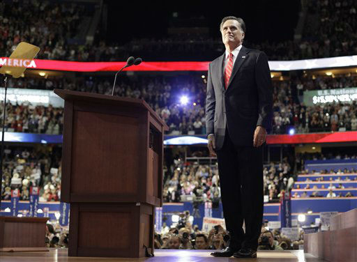 "<div class=""meta ""><span class=""caption-text "">Republican presidential nominee Mitt Romney acknowledges delegates before speaking at the Republican National Convention in Tampa, Fla., on Thursday, Aug. 30, 2012.  (AP Photo/David Goldman) (AP Photo/ David Goldman)</span></div>"