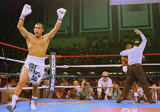 Hector Camacho exults as referee Joe Cortez stops the fight with &#34;Sugar&#34; Ray Leonard in the fifth round in Atlantic City, N.J., on Saturday, March 1, 1997. &#40;AP Photo&#47;Charles Rex Abrogast&#41; <span class=meta>(AP Photo&#47; CHARLES REX ABROGAST)</span>