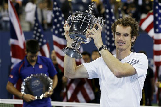 "<div class=""meta ""><span class=""caption-text "">Britain's Andy Murray poses with the trophy after defeating Serbia's Novak Djokovic in the championship match at the U.S. Open tennis tournament, Monday, Sept. 10, 2012, in New York. Murray won 7-6 (10), 7-5, 2-6, 3-6, 6-2. (AP Photo/Mike Groll) (AP Photo/ Mike Groll)</span></div>"