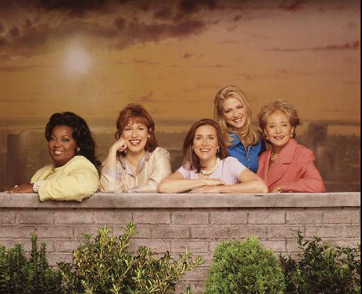 &#34;The View,&#34; a new intergenerational program produced by ABC News correspondent Barbara Walters, will premiere Monday, Aug. 11 at 11 a.m. on ABC. Broadcast live, it will air weekdays with a team of five women of different ages, experiences and backgrounds. The women, from left, are: Star Jones, Joy Behar, Meredith Vieira, Debbie Matenopoulos and Walters. &#40;AP Photo&#47;ABC, Andrew Eccles&#41; <span class=meta>(AP Photo&#47; ANDREW ECCLES)</span>