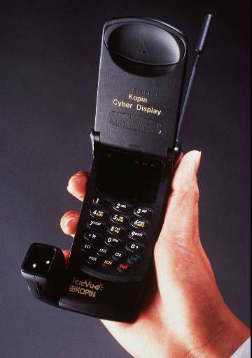 A Kopin Corporation &#34;Cyber Display &#34; cellular telephone is displayed in this undated  photo released Thursday, Sept. 4., 1997. Kopin Corp. and Motorola announced Thursday a multi-year, multi-million-dollar business alliance agreement under which the companies will develop , manufacture and market low-cost, low-power portable communications flat-panel display products based on Kopin&#39;s CyberDisplay  active matrix LCD technology. The technology enables portable communications devices, like cellular telephones, to display text, e-mail, graphics and video from Internet, intranet and other data or video sources. &#40;AP Photo&#47;Kopin Corp.&#41; <span class=meta>(AP Photo&#47; Anonymous)</span>