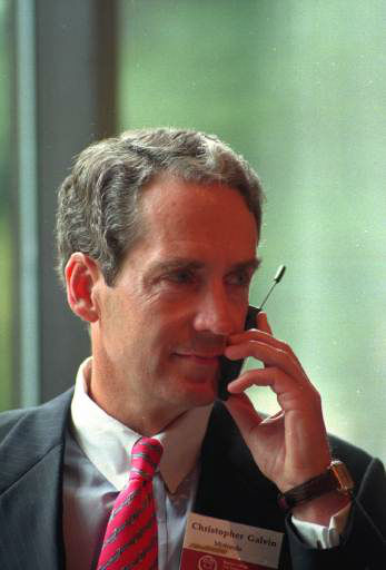 Cristopher Galvin, chief executive officer of Motorola, Inc., talks on a Motorola cellular telephone before giving the keynow speech to a luncheon with Boston College&#39;s Chief Executives Club at the Four Seasons Hotelin Boston, Mass. on Sept. 10, 1997.  Fortune Magazine ranks Motorola 24th on the list of largest U.S. corperations.  &#40;AP Photo&#47;Rick Cinclair&#41; <span class=meta>(AP Photo&#47; RICK CINCLAIR)</span>