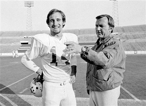 FILE - In this Dec. 15, 1976 file photo, New England Patriots Coach Chuck Fairbanks, right, makes a point as he discusses play with quarterback Steve Grogan, during a workout at Schaefer Stadium in Foxborough, Mass., as they prepared for playoff game against the Oakland Raiders. Fairbanks, who coached Heisman Trophy winner Steve Owens at Oklahoma and spent six seasons as coach of the New England Patriots, died Tuesday, April 2, 2013, in Scottsdale, Ariz., after battling brain cancer, the University of Oklahoma said in a news release. He was 79.  &#40;AP Photo&#47;File&#41; <span class=meta>(AP Photo&#47; Uncredited)</span>