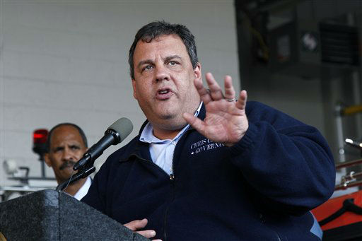 New Jersey Gov. Chris Christie addresses a gathering Saturday, Oct. 27, 2012, in North Wildwood, N.J., as he lays out preparation plans for Hurricane Sandy.  the region prepares for Hurricane Sandy. A state of emergency is in effect for New Jersey as hundreds of coastal residents have started moving inland while officials closely monitor Hurricane Sandy and its potential for creating devastating weather. Mandatory evacuations were under way in southern New Jersey&#39;s barrier islands, which people were ordered to leave by 4 p.m. Sunday. Christie also ordered the evacuations of all Atlantic City casinos by that time and said state parks would close. &#40;AP Photo&#47;Mel Evans&#41; <span class=meta>(AP Photo&#47; Mel Evans)</span>