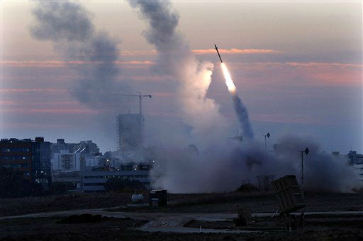 The Iron Dome defense system fires to interecpt incoming missiles from Gaza in the port town of Ashdod, Thursday, Nov. 15, 2012. Israel?s prime minister Benjamin Netanyahu said Thursday  that the army is prepared for a ?significant widening? of its operation in the Gaza Strip. &#40;AP Photo &#47;Tsafrir Abayov&#41; <span class=meta>(AP Photo&#47; Tsafrir Abayov)</span>
