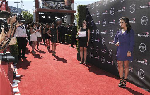Gymnast Jordyn Wieber arrives at the ESPY Awards on Wednesday, July 17, 2013, at Nokia Theater in Los Angeles. &#40;Photo by Jordan Strauss&#47;Invision&#47;AP&#41; <span class=meta>(Photo&#47;Jordan Strauss)</span>