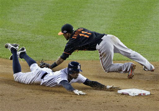 New York Yankees&#39; Curtis Granderson safely steals second base past the tag by Baltimore Orioles&#39; Robert Andino during the fifth inning in Game 5 of the American League division baseball series on Friday, Oct. 12, 2012, in New York. &#40;AP Photo&#47;Peter Morgan&#41; <span class=meta>(AP Photo&#47; Peter Morgan)</span>