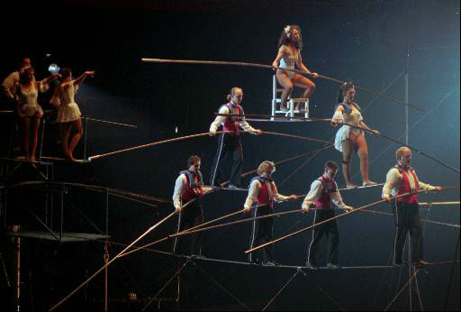 "<div class=""meta ""><span class=""caption-text "">The Flying Wallendas of Sarasota, Fla., perform their seven-person Grand Pyramid at the Michigan State Fairgrounds in Detroit Friday, March 6, l998. This was the third show in Detroit this week for the Wallendas to perform the stunt which killed two members and injured three others in the same spot Jan. 30, l962. The Wallendas will perform the stunt 38 times during the 17-day Shrine Circus which begins Friday, March 6, l998. Bottom row from left: Tino Wallenda-Zoppe, 47, Sacha Paulata, 48, Nikolas Wallenda, 19 and Terry Troffer, 43. Second row from left, Tony Hernandez, 22, and Alida Wallenda, 23. Top is Delilah Wallenda, 45. (AP Photo/Richard Sheinwald) (AP Photo/ RICHARD SHEINWALD)</span></div>"