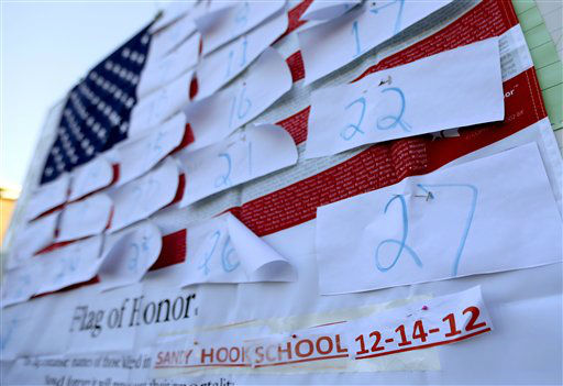 A U.S. flag is covered with numbers representing the people that died when a gunman opened fired at Sandy Hook Elementary School during a shooting rampage a day earlier, Saturday, Dec. 15, 2012, in Sandy Hook village of Newtown, Conn. The massacre of 26 children and adults at Sandy Hook Elementary school elicited horror and soul-searching around the world even as it raised more basic questions about why the gunman, 20-year-old Adam Lanza, would have been driven to such a crime and how he chose his victims.  &#40;AP Photo&#47;Julio Cortez&#41; <span class=meta>(AP Photo&#47; Julio Cortez)</span>