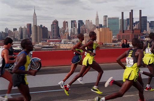 "<div class=""meta ""><span class=""caption-text "">Runners cross over the Pulaski Bridge as they enter the Queens borough of New York during the 29th running of the New York City Marathon, Sunday, Nov. 1, 1998. Kenya 's John Kagwe won the New York City Marathon for the second straight year, with Italy 's Franca Fiacconi capturing the women's division. (AP Photo/Scott Gries) (AP Photo/ SCOTT GRIES)</span></div>"