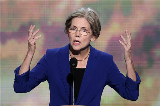 Senate candidate from Massachusetts Elizabeth Warren addresses the Democratic National Convention in Charlotte, N.C., on Wednesday, Sept. 5, 2012. &#40;AP Photo&#47;J. Scott Applewhite&#41; <span class=meta>(AP Photo&#47; J. Scott Applewhite)</span>