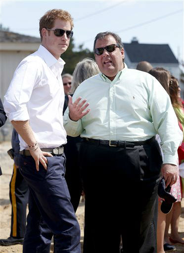 Britain&#39;s Prince Harry and N..J. Gov. Chris Christie talk during a tour  in Mantoloking, N.J. on Tuesday, May 14, 2013.  Prince Harry began a tour Tuesday of New Jersey?s storm-damaged coastline, inspecting dune construction, walking past destroyed homes and shaking hands with police and other emergency workers.  &#40;AP Photo&#47;The Star-Ledger, Andrew Mills, Pool&#41; <span class=meta>(AP Photo&#47; Andrew Mills)</span>