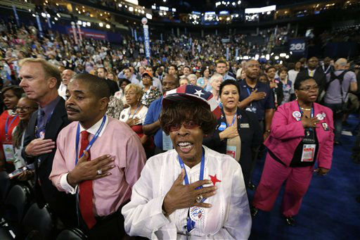 "<div class=""meta ""><span class=""caption-text "">North Carolina delegates recites the Pledge of Allegiance during the Democratic National Convention in Charlotte, N.C., on Tuesday, Sept. 4, 2012. (AP Photo/Charles Dharapak) (AP Photo/ Charles Dharapak)</span></div>"