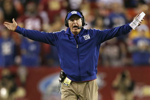 New York Giants head coach Tom Coughlin reacts to a call during the first half of an NFL football game against the Washington Redskins in Landover, Md., Monday, Dec. 3, 2012. &#40;AP Photo&#47;Evan Vucci&#41; <span class=meta>(AP Photo&#47; Evan Vucci)</span>