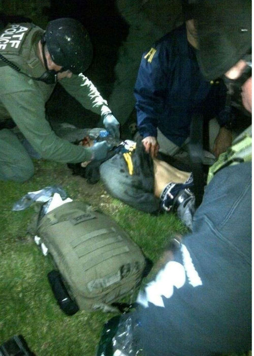 ATF confirms this image is of one of their medics working on suspect Dzhokhar Tsarnaev, who was taken into custody after hiding out in a boat in Watertown. He is alive, but is in serious condition at Beth Israel Hospital    <span class=meta>(WABC Photo)</span>