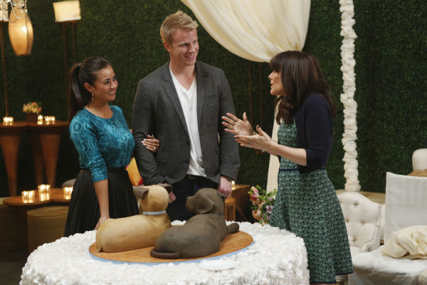 THE BACHELOR: SEAN AND CATHERINE&#39;S WEDDING - Sean Lowe and Catherine Giudici, the latest to join other &#34;Bachelor&#34; couples who have walked down the aisle, will share a dramatic new chapter of their love story with millions of viewers and Bachelor Nation when ABC televises their much anticipated wedding - live, on &#34;The Bachelor: Sean and Catherine&#39;s Wedding,&#34; SUNDAY, JANUARY 26, 2014 &#40;8:00-10:00 p.m., ET&#41;, on the ABC Television Network. This will mark the first time ever a &#34;Bachelor&#34; wedding has been telecast live. &#40;ABC&#47;Greg Zabilski&#41; CATHERINE GIUDICI, SEAN LOWE, MINDY WEISS <span class=meta>(ABC Photo&#47; Greg Zabilski)</span>