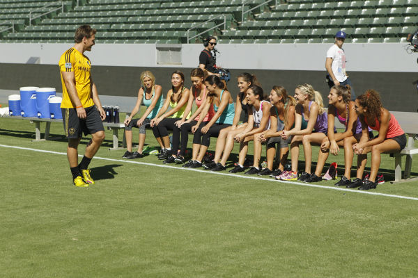THE BACHELOR - &#34;Episode 1803&#34; - Juan Pablo loves soccer, as the women are well aware, and now ten of them will attempt to show off their soccer skills when they arrive at the Stub Hub Center in Carson, California, the home of two-time Major League Soccer World Champions the Los Angeles Galaxy. After he demonstrates some of his signature moves while warming up with a few of the professional players, Juan Pablo splits the women into two teams and the ladies battle for his attention. But the real competition heats up at the after party when the women try to win the group date rose. Sharleen, Andi and Nikki all think their connections with the Bachelor are heating up, but are they? - on &#34;The Bachelor,&#34; MONDAY, JANUARY 20 &#40;8:00-10:01 p.m., ET&#41;, on the ABC Television Network. &#40;ABC&#47;Rick Rowell&#41; JUAN PABLO GALAVIS, CHRISTY, SHARLEEN, KELLY, ANDI, ALLI, LAUREN, RENEE, NIKKI, LUCY, DANIELLE <span class=meta>(Photo&#47;Rick Rowell)</span>