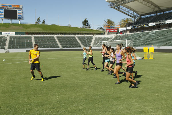 THE BACHELOR - &#34;Episode 1803&#34; - Juan Pablo loves soccer, as the women are well aware, and now ten of them will attempt to show off their soccer skills when they arrive at the Stub Hub Center in Carson, California, the home of two-time Major League Soccer World Champions the Los Angeles Galaxy. After he demonstrates some of his signature moves while warming up with a few of the professional players, Juan Pablo splits the women into two teams and the ladies battle for his attention. But the real competition heats up at the after party when the women try to win the group date rose. Sharleen, Andi and Nikki all think their connections with the Bachelor are heating up, but are they? - on &#34;The Bachelor,&#34; MONDAY, JANUARY 20 &#40;8:00-10:01 p.m., ET&#41;, on the ABC Television Network. &#40;ABC&#47;Rick Rowell&#41; JUAN PABLO GALAVIS, CHRISTY, SHARLEEN, KELLY, ANDI, ALLI, LUCY, DANIELLE <span class=meta>(ABC Photo&#47; Rick Rowell)</span>