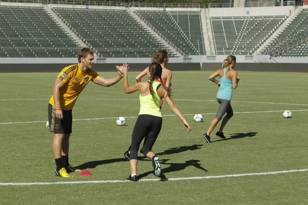 THE BACHELOR - &#34;Episode 1803&#34; - Juan Pablo loves soccer, as the women are well aware, and now ten of them will attempt to show off their soccer skills when they arrive at the Stub Hub Center in Carson, California, the home of two-time Major League Soccer World Champions the Los Angeles Galaxy. After he demonstrates some of his signature moves while warming up with a few of the professional players, Juan Pablo splits the women into two teams and the ladies battle for his attention. But the real competition heats up at the after party when the women try to win the group date rose. Sharleen, Andi and Nikki all think their connections with the Bachelor are heating up, but are they? - on &#34;The Bachelor,&#34; MONDAY, JANUARY 20 &#40;8:00-10:01 p.m., ET&#41;, on the ABC Television Network. &#40;ABC&#47;Rick Rowell&#41; JUAN PABLO GALAVIS, SHARLEEN, KELLY, RENEE <span class=meta>(Photo&#47;Rick Rowell)</span>