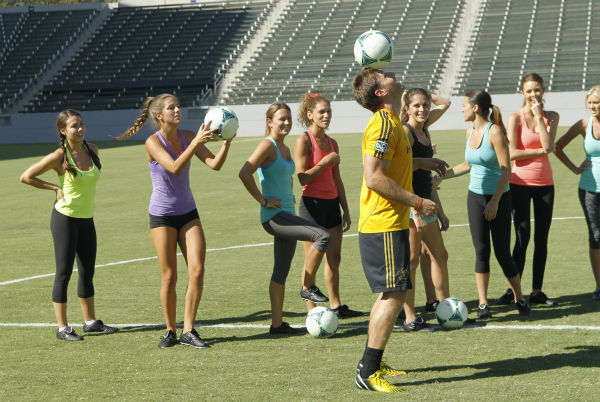 THE BACHELOR - &#34;Episode 1803&#34; - Juan Pablo loves soccer, as the women are well aware, and now ten of them will attempt to show off their soccer skills when they arrive at the Stub Hub Center in Carson, California, the home of two-time Major League Soccer World Champions the Los Angeles Galaxy. After he demonstrates some of his signature moves while warming up with a few of the professional players, Juan Pablo splits the women into two teams and the ladies battle for his attention. But the real competition heats up at the after party when the women try to win the group date rose. Sharleen, Andi and Nikki all think their connections with the Bachelor are heating up, but are they? - on &#34;The Bachelor,&#34; MONDAY, JANUARY 20 &#40;8:00-10:01 p.m., ET&#41;, on the ABC Television Network. &#40;ABC&#47;Rick Rowell&#41; SHARLEEN, LUCY, RENEE, DANIELLE, JUAN PABLO GALAVIS, ALLI, ANDI, KELLY, CHRISTY <span class=meta>(Photo&#47;Rick Rowell)</span>