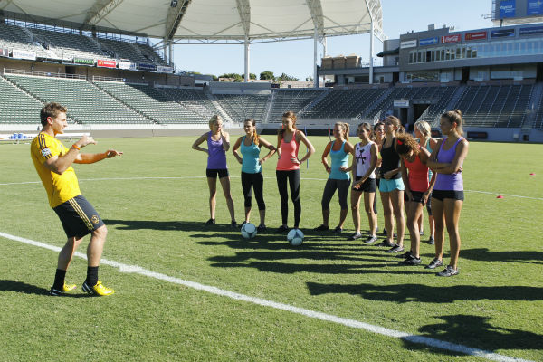 "<div class=""meta ""><span class=""caption-text "">THE BACHELOR - ""Episode 1803"" - Juan Pablo loves soccer, as the women are well aware, and now ten of them will attempt to show off their soccer skills when they arrive at the Stub Hub Center in Carson, California, the home of two-time Major League Soccer World Champions the Los Angeles Galaxy. After he demonstrates some of his signature moves while warming up with a few of the professional players, Juan Pablo splits the women into two teams and the ladies battle for his attention. But the real competition heats up at the after party when the women try to win the group date rose. Sharleen, Andi and Nikki all think their connections with the Bachelor are heating up, but are they? - on ""The Bachelor,"" MONDAY, JANUARY 20 (8:00-10:01 p.m., ET), on the ABC Television Network. (ABC/Rick Rowell) JUAN PABLO GALAVIS, NIKKI, ANDI, KELLY, RENEE, LAUREN, SHARLEEN, ALLI, DANIELLE, CHRISTY, LUCY (Photo/Rick Rowell)</span></div>"
