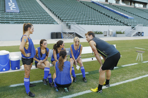 THE BACHELOR - &#34;Episode 1803&#34; - Juan Pablo loves soccer, as the women are well aware, and now ten of them will attempt to show off their soccer skills when they arrive at the Stub Hub Center in Carson, California, the home of two-time Major League Soccer World Champions the Los Angeles Galaxy. After he demonstrates some of his signature moves while warming up with a few of the professional players, Juan Pablo splits the women into two teams and the ladies battle for his attention. But the real competition heats up at the after party when the women try to win the group date rose. Sharleen, Andi and Nikki all think their connections with the Bachelor are heating up, but are they? - on &#34;The Bachelor,&#34; MONDAY, JANUARY 20 &#40;8:00-10:01 p.m., ET&#41;, on the ABC Television Network. &#40;ABC&#47;Rick Rowell&#41; RENEE, SHARLEEN, ALLI, ANDI, CHRISTY, JUAN PABLO GALAVIS <span class=meta>(ABC Photo&#47; Rick Rowell)</span>