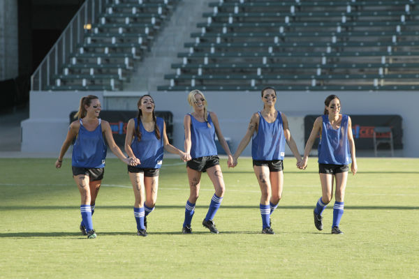 THE BACHELOR - &#34;Episode 1803&#34; - Juan Pablo loves soccer, as the women are well aware, and now ten of them will attempt to show off their soccer skills when they arrive at the Stub Hub Center in Carson, California, the home of two-time Major League Soccer World Champions the Los Angeles Galaxy. After he demonstrates some of his signature moves while warming up with a few of the professional players, Juan Pablo splits the women into two teams and the ladies battle for his attention. But the real competition heats up at the after party when the women try to win the group date rose. Sharleen, Andi and Nikki all think their connections with the Bachelor are heating up, but are they? - on &#34;The Bachelor,&#34; MONDAY, JANUARY 20 &#40;8:00-10:01 p.m., ET&#41;, on the ABC Television Network. &#40;ABC&#47;Rick Rowell&#41; RENEE, SHARLEEN, CHRISTY, ANDI, LAUREN <span class=meta>(ABC Photo&#47; Rick Rowell)</span>