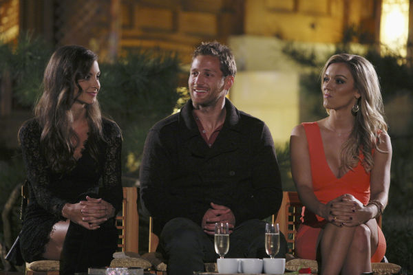 THE BACHELOR - &#34;Episode 1804&#34; - &#34;K-Pop&#34; superstars &#34;2NE1&#34; put Juan Pablo and six of the women through their paces, teaching them a choreographed routine to one of their chart-topping hits. Kat steals the spotlight with her professional dance moves, while Nikki struggles to keep up and fit in. Then the group drops a bombshell -- Juan Pablo and the six beautiful women will perform as background dancers during a concert in front of a live audience. Kat has no problem showing off her expertise and making sure Juan Pablo knows it. Nikki has a serious case of stage fright she must conquer if she is to continue. At the after party, one woman makes it quite clear she is not a fan of group dates and wants Juan Pablo all to herself, on &#34;The Bachelor,&#34; MONDAY, JANUARY 27 &#40;8:00-10:01 p.m., ET&#41;, on the ABC Television Network. &#40;ABC&#47;Christopher Jue&#41; CASSANDRA, JUAN PABLO GALAVIS, KAT <span class=meta>(Photo&#47;Christopher Jue)</span>