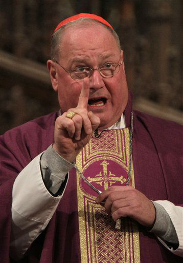 Cardinal Timothy Dolan speaks during mass at St. Patrick&#39;s Cathedral on Ash Wednesday in New York, Feb. 22, 2012. Over the weekend Dolan was elevated from and archbishop to cardinal in a ceremony at the Vatican. &#40;AP Photo&#47;Seth Wenig&#41; <span class=meta>(AP Photo&#47; Seth Wenig)</span>