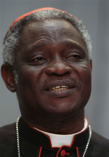 Ghanian Cardinal Peter Kodwo Appiah Turkson talks to journalists during a press conference at the Vatican, Saturday, Oct. 24, 2009, concluding a three-week Vatican meeting on the role of the Catholic Church in Africa which he had headed. Pope Benedict XVI has tapped Cardinal Peter Kodwo Appiah Turkson to head the Vatican&#39;s justice and peace office. The high-profile job cements Turkson&#39;s reputation as a possible papal candidate.  Turkson had told reporters three weeks ago that there was no reason there couldn&#39;t be a black pope, particularly after Barack Obama was elected U.S. president. &#40;AP Photo&#47;Gregorio Borgia&#41; <span class=meta>(AP Photo&#47; GREGORIO BORGIA)</span>