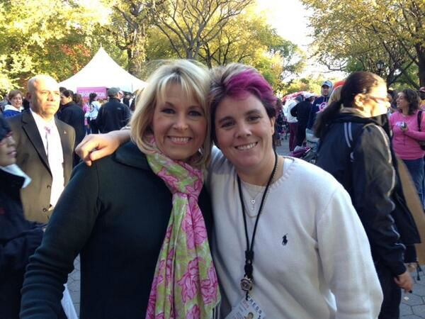 Eyewitness News anchor Diana Williams made strides Sunday in Central Park. Check out the pink hair for breast cancer! WABC-TV is a proud sponsor of the walk. <span class=meta>(WABC Photo)</span>