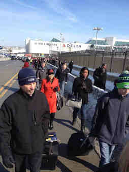Passengers were forced to evacuate the Delta Terminal at LaGuardia Airport due to a suspicious package on Feb. 4, 2014. <span class=meta>(Dionna Widder)</span>
