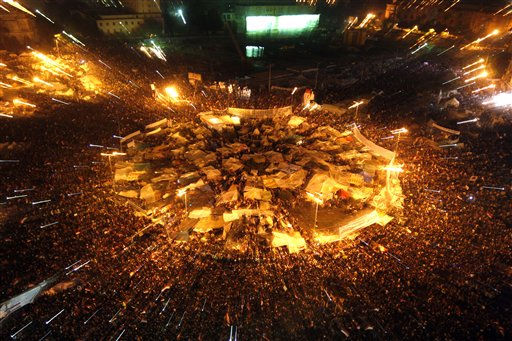 "<div class=""meta image-caption""><div class=""origin-logo origin-image ""><span></span></div><span class=""caption-text"">Egyptians celebrate after President Hosni Mubarak resigned and handed power to the military at Tahrir Square, in Cairo, Egypt, Friday, Feb. 11, 2011. Egypt exploded with joy, tears, and relief after pro-democracy protesters brought down President Hosni Mubarak with a momentous march on his palaces and state TV. Mubarak, who until the end seemed unable to grasp the depth of resentment over his three decades of authoritarian rule, finally resigned Friday and handed power to the military. (AP Photo/Khalil Hamra) (AP Photo/ Khalil Hamra)</span></div>"