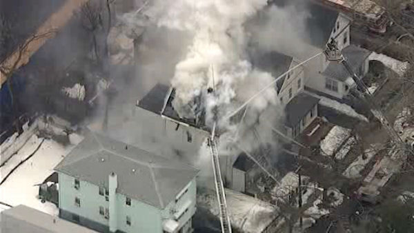 A two-alarm fire erupted in Mount Vernon late Tuesday morning