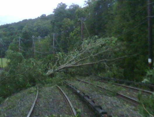 Storm damage along the MetroNorth line