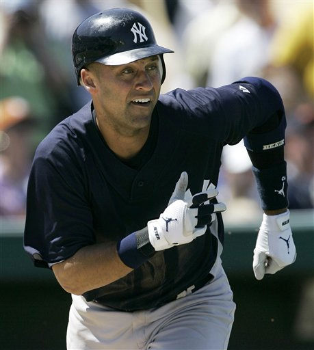New York Yankees&#39; Derek Jeter runs out a hit against the Detroit Tigers during a Grapefruit League spring training baseball game in Lakeland, Fla., Sunday, March 25, 2007. &#40;AP Photo&#47;Paul Sancya&#41; <span class=meta>(AP Photo&#47; Paul Sancya)</span>