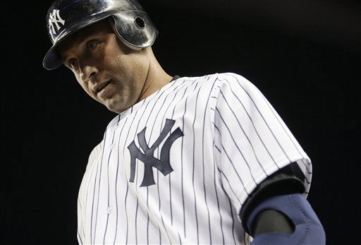 "<div class=""meta ""><span class=""caption-text "">New York Yankees' Derek Jeter returns to the dugout after being thrown out at first base to end a baseball game against the Tampa Bay Rays on Thursday, July 7, 2011, at Yankee Stadium in New York. The Rays won 5-1. (AP Photo/Frank Franklin II) (AP Photo/ Frank Franklin II)</span></div>"