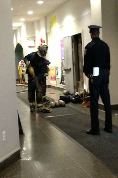 A 19-year-old NYU student was rescued after being trapped between two buildings at 80 Lafayette Street. <span class=meta>(WABC Photo&#47; Rupeshi Shah)</span>