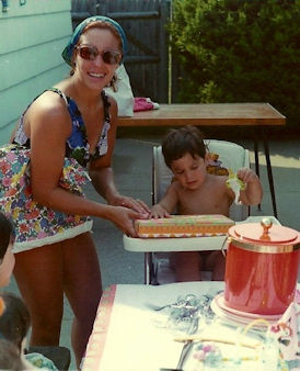"Eyewitness News reporter Phil Lipof and his mom. ""This is my mom at my first birthday I believe. It was a pool party and she made my cake as she did my whole life. Her name is Emily Lipof and The best mom ever!!"""