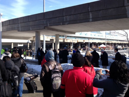 Passengers were forced to evacuate the Delta Terminal at LaGuardia Airport due to a suspicious package on Feb. 4, 2014. <span class=meta>(Suzan Becker)</span>