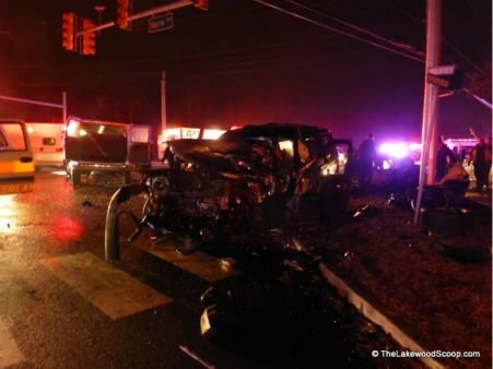 Two vehicles collided in Lakewood, New Jersey on Tuesday night injuring several people. <span class=meta>(Photo&#47;TheLakewoodScoop.com)</span>