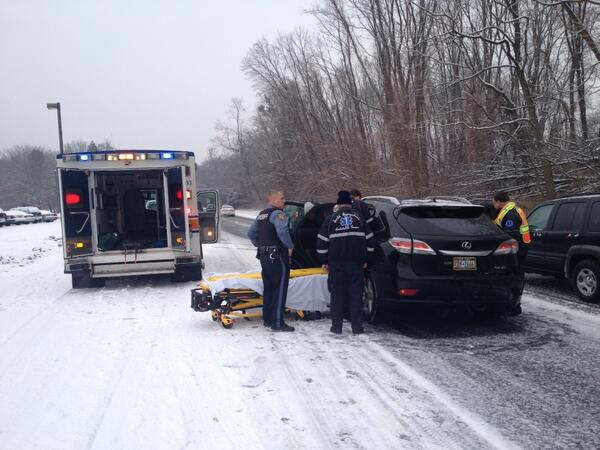 Sleet, snow and freezing rain in the New York area Friday morning iced roads and caused dangerous driving conditions.