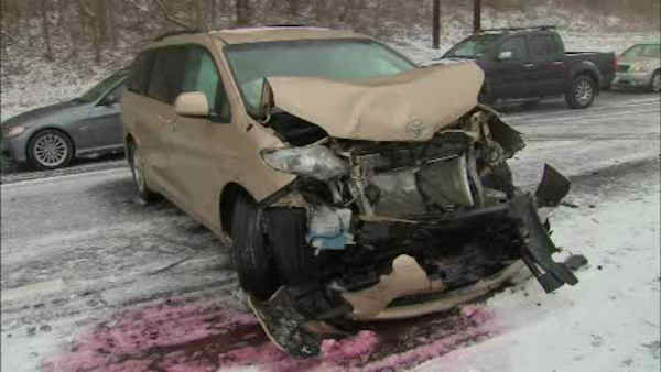 The weather led to a number of accidents on the Palisades Parkway.