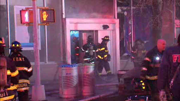 Firefighters battled a 5-alarm fire at a Citibank in Morningside Heights Saturday morning.