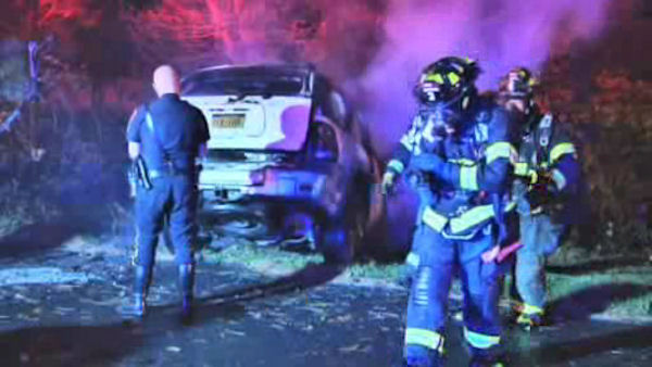 A truck driver rescued an alleged drunk driver whose car had struck a tree on the Long Island Expressway early Friday morning.