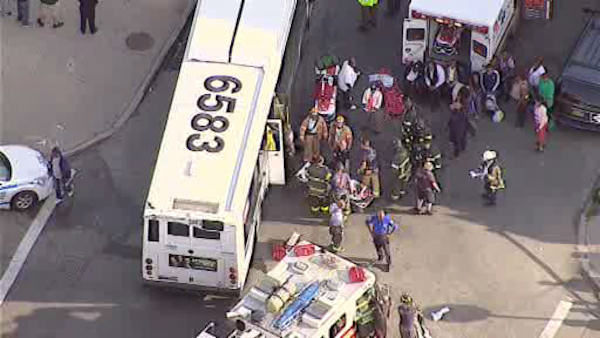 At least 38 people were injured Monday in a crash involving an MTA bus and a car in Crown Heights.