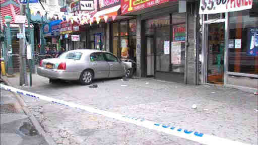 A livery car driver died after suffering a heart attack and crashing into a building in the Bronx injuring a mother and her infant child.