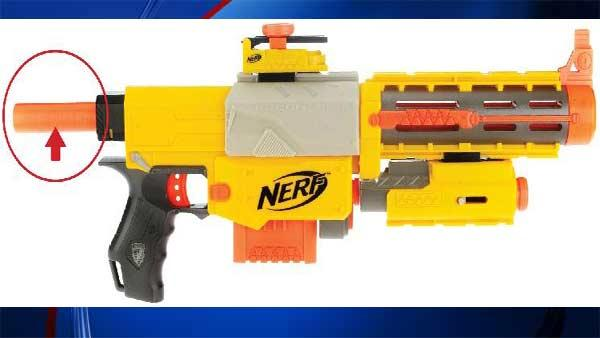 Hasbro recalled Nerf Blasters citing a childs skin can get caught in plunger of the toy.